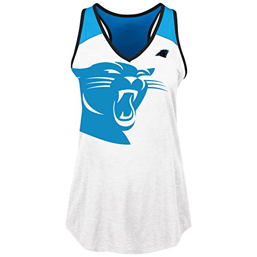 Carolina Tank - Profile Big & Tall NFL Carolina Panthers Adult Women NFL Plus Panthers V Neck Muscle Tank,1X,White/Black