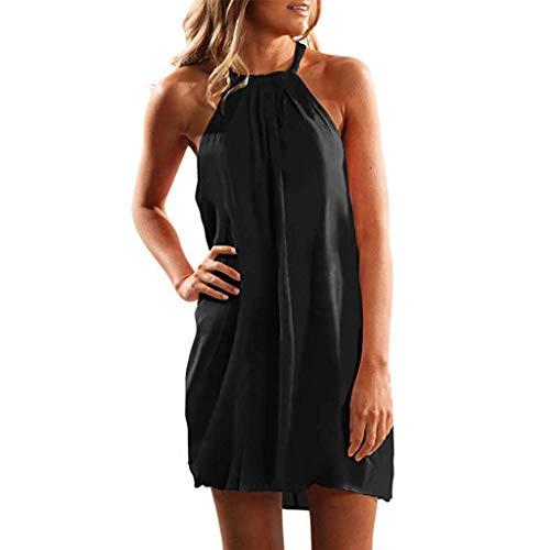 - Womens Summer Halter Neck Floral Print Sleeveless Casual Mini Dress Black
