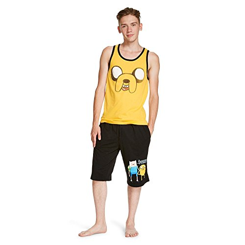 Cartoon Network Adventure Time Men's 2-Piece Sleep Set - Jake Spray Tank Top and Finn Shorts Set (X-Large) - Tank 2 Piece Set