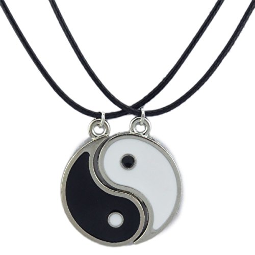 1set=2pcs Enamel Alloy Best Friend I Ching Bagua Tai Chi Ying Yang Pendant Necklace (Yang And Ying)