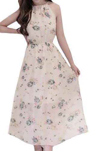 Women's Maxi Slim Chiffon Pattern3 Long Dress Sleeveless Bohemian Coolred df6nz1d