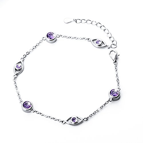Adjustable Lucky CZ Evil Eye Charm Bracelet for Women, (6.9-8.1 inches) (8 Inch Claddagh Bracelet)