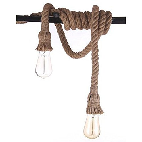 2 Heads Pendant Light Industrial Hemp Rope Hanging Light Vintage Retro Ceiling Light Fixtures for Dining Room Kitchen