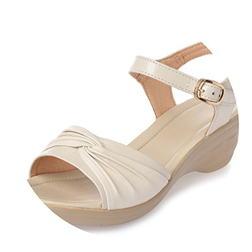 Size Women Wedges Sandals Leather Big Summer Casual Beige Ladies 43 Shoes 35 SqBAwn8FS
