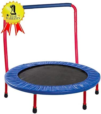 JumJoe Kids Trampoline – 36 inch, with Handle Bar, Safety, Portable – 1 Year Warranty Red with Safety Pad