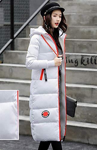 Pluma Elegantes Cómodo Fashion Día Invierno Outdoor Parka Largo Retro Caliente Abrigo Outerwear Blanco Largos Manga Acolchado Slim Encapuchado Mujer Parche Casual Fit 4HzzqvwtxF