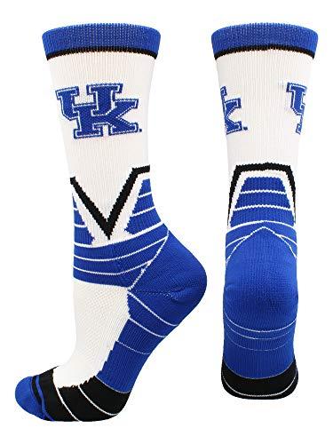 TCK Sports Kentucky Wildcats Victory Crew Socks (White/Blue/Black, Large)