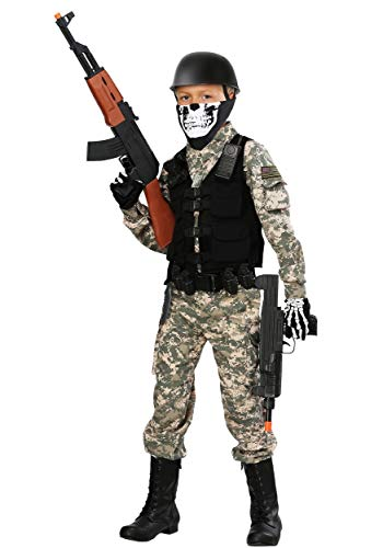 Kids Battle Soldier Costume Tactical Vest Jumpsuit Army Costume for Kids Medium -