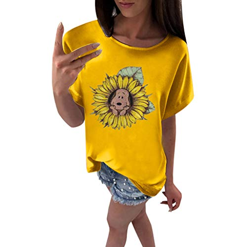(Blouses for Women, Plus Size O-Neck Sunflower Print Short Sleeved T-Shirt Blouse Tops Yellow)