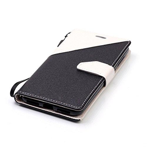 Funda Cover Huawei Y5 II,Ukayfe Wallet Case Flip Funda de cuero PU Piel Monedero de Tarjeta Anti-Arañazo y Shock Resistente Protector Bumper Case Cover Accesorio con Colorful Empalme Diseño para Huawe Blanco