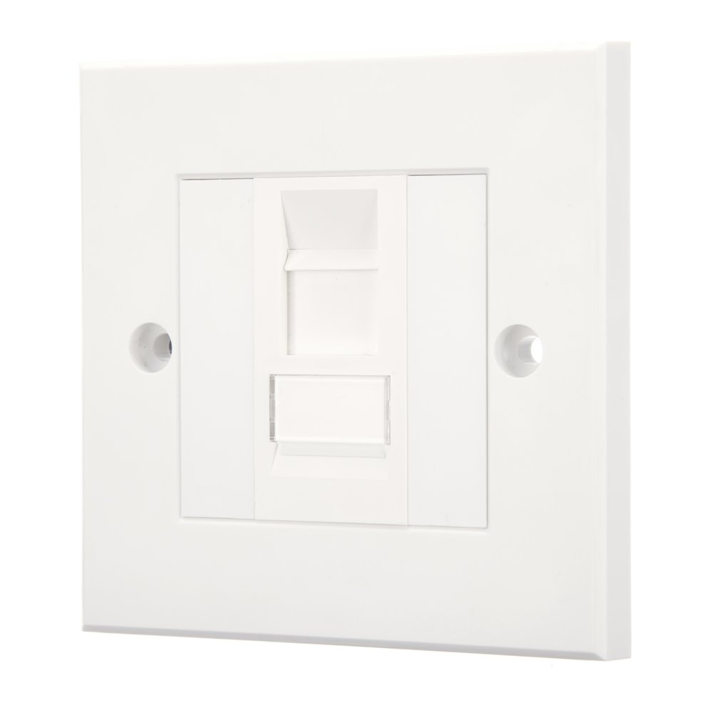 Computer Spares Cat5e Faceplates Wall Sockets For Use With Rj45 Wiring Double Socket Ethernet Network Cable 1 X Diy Tools