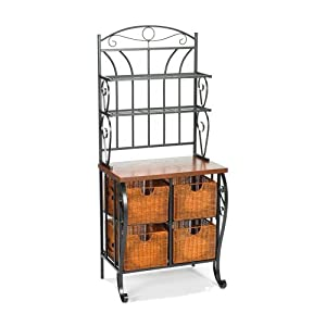 Southern Enterprises Wrought Iron Bakers Rack with Scroll Work, Black Finish