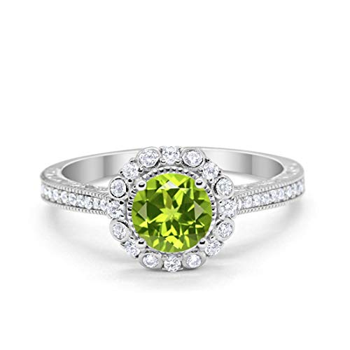 (Blue Apple Co. Art Deco Filigree Halo Wedding Engagement Bridal Ring Solid Round Simulated Peridot 925 Sterling Silver, Size-9)