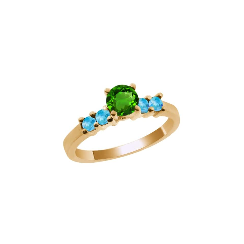 0.82 Ct Round Chrome Diopside Swiss Blue Simulated Topaz 14K Yellow Gold Ring