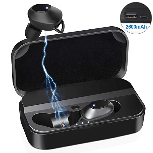 Wireless Earbuds,LeaderPro Bluetooth 5.0 Headphones IPX5 Waterproof One Button Control 3D Stereo Sound True Wireless Earbuds with 2600mah Emergency Charging Case for Your Phone