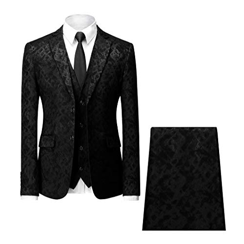 MAGE MALE Men's 3-Piece Floral Suit Slim Fit Notched Lapel Weddings Party Dinner Tuxedo Blazer Vest Pants Sets