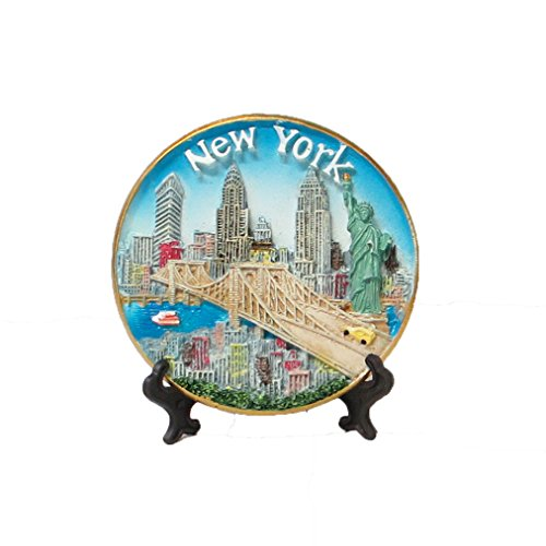 New York Souvenir 3D Plate with Statue of Liberty, Empire State Building, Chrysler Building, Freedom Tower, Brooklyn Bridge 4 Inches Diameter - Avenue On Stores Nyc 5th