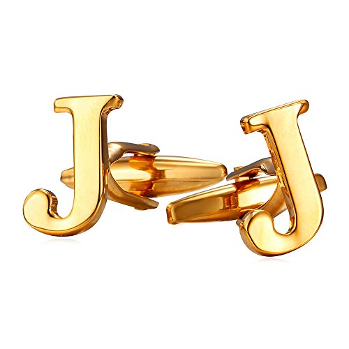 U7 Men's 18K Gold Plated Initial Cufflinks (Letter J)