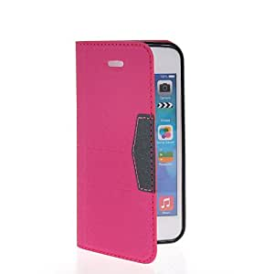KCASE Slim Wallet Card Pouch Flip Leather Case Cover For Apple iPhone 5C Hotpink