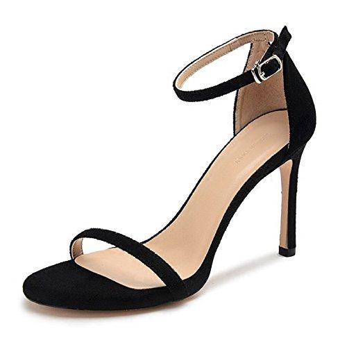 Tacchi Shoes Commerce Caviglia Sandali Peep Toe Semplice Pelle Black Fibbia Summer Alla Scamosciata A Show WWUX Alti Cinturino 6CM 37 Spillo Ladies Party Show xpwa0Rwq6