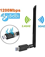 Wireless USB 3.0 WiFi Adapter 1200Mbps, WiFi Dongle Dual Band 2.4GHz/5GHz with 5dBi Antenna 802.11 ac for Desktop Laptop PC Support Windows 10/8/8.1/7/Vista/XP/Mac 10.5-10.13