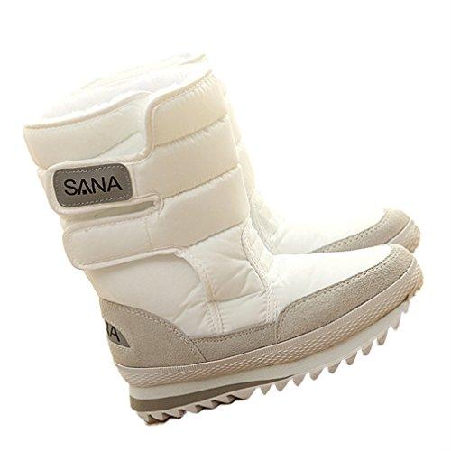 Nieve Antideslizante Calzado Xianshu Cálido de Media Botas Blanco Mujers pierna Invierno 0X0qB8