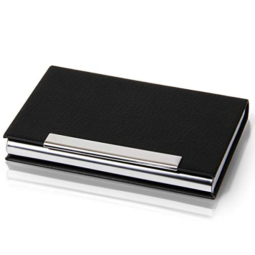Deli PU Leather Professional Business Card Holder,Name Card Holder Organizer,Slim Metal Pocket Card Holder with Magnetic Shut for Men and Women-Holds 20 Cards Black 1Pack
