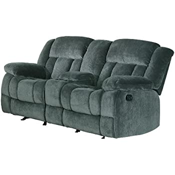 Homelegance 9636CC-2 Laurelton Textured Plush Microfiber Dual Glider Recliner Love Seat with Console  sc 1 st  Amazon.com : dual recliners with console - islam-shia.org