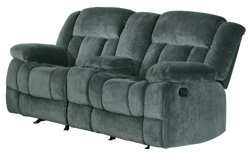 "Homelegance Laurelton 79"" Microfiber Double Glider Recliner Love Seat with Console, Gray"