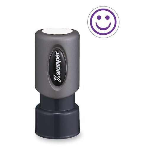 SHACHIHATA INC Xstamper Pre-Inked Specialty Smiley Face Stamp (XST11420) (Smiley Purple Face)