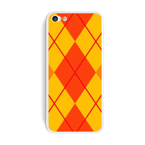 Graphics and More Argyle Hipster Orange Protective Skin Sticker Case for Apple iPhone 5C - Set of 2 - Non-Retail Packaging - Opaque