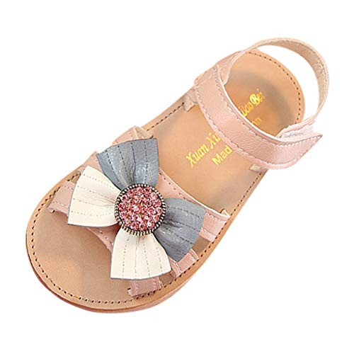 Summer Infant Kids Baby Girls Bowknot Crystal Casual Princess Shoes Sandals Pink