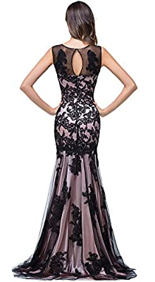 Babyonlinedress Scoop neck Mermaid Black lace Applique Evening Prom dress