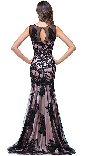 Babyonline Elegant Mermaid Formal evening Dress lace applique Prom party dress Black (Elegant Evening Wear)