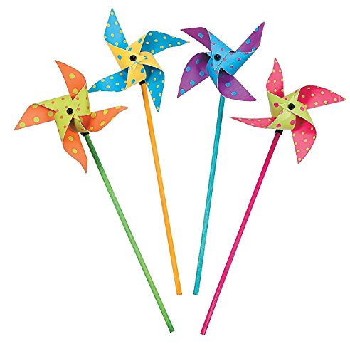 Fun Express Bright Polka Dots Pinwheels Set (3 -