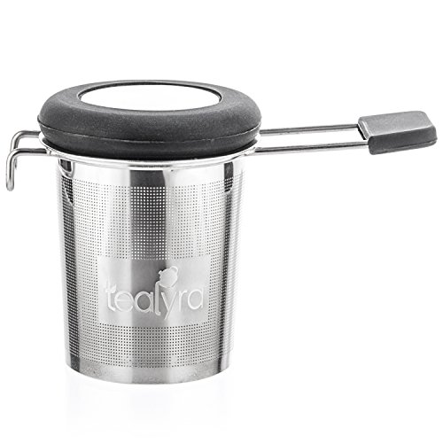 Tealyra - makeTEA - Tea Infuser Mesh Strainer with Metal Dish - Large Capacity and Perfect Size for Hanging on Teapots - Mugs - Cups - To Steep Loose Leaf Tea and Coffee