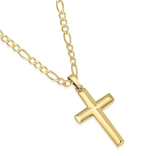 (XP Jewelry 14K Gold Plated Sterling Silver Cross Pendant Italian Made Figaro Chain Necklace - 080 3.0mm - 18