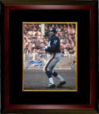 signed-ya-tittle-picture-blue-jersey-passing-vertical-8x10-custom-framed-hof-71-autographed-nfl-phot