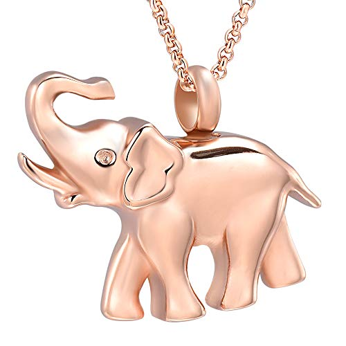Hearbeingt Cremation Jewelry for Ashes, Elephant Shape Memorial Pendant Made with Stainless Steel, Keepsake Locket Necklace for Pet for Women ()