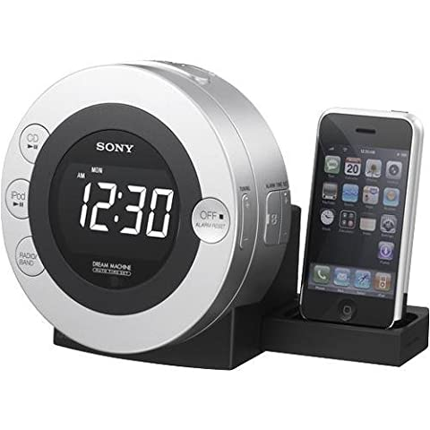 Sony ICFCD3IP 30-Pin iPhone/iPod Clock Radio Speaker Dock with CD Player (Silver) (Discontinued by (Ipod Dock With Clock)