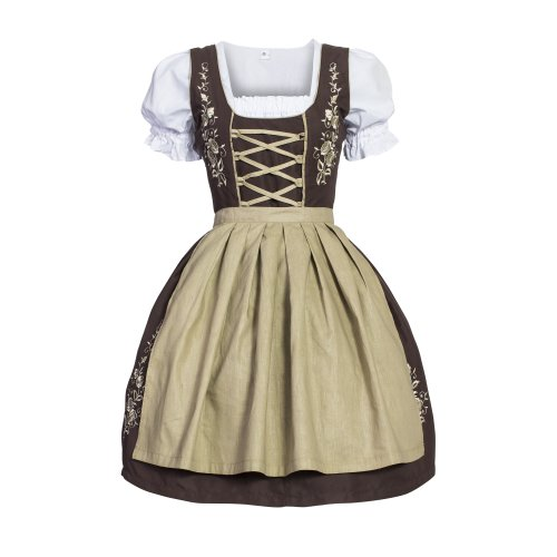 [Gaudi-leathers Women's Set-3 Dirndl Pieces Embroidery 38 Brown/Beige] (Dirndl Costume)