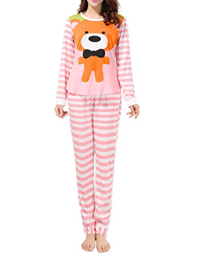 VENTELAN Women Long Sleeve Teddy Bear Round Neck Pajamas Set Striped Sleepwear,Orange,S(USA Size:4-6)