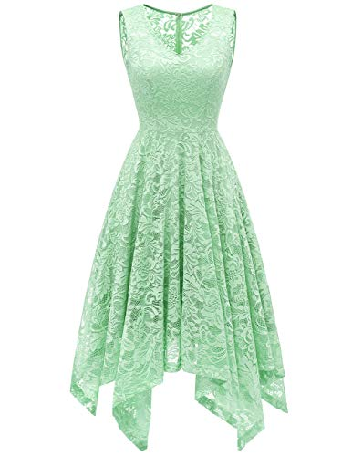 Junior Large Mint - Meetjen Women's Cocktail V-Neck Dress Floral Lace Handkerchief Hem Asymmetrical Homecoming Dress Mint M