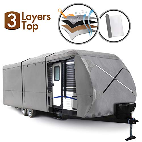 XGEAR Travel Trailer RV Cover Fits 24′-27 Water-Repellent Fabric with Thick 3-ply Top Windproof Buckles & Adhesive…