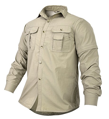 ble Anti-Rip UPF 50+ Sun Protection Fishing Shirts for Work Travel Military(khaki,US XL) ()