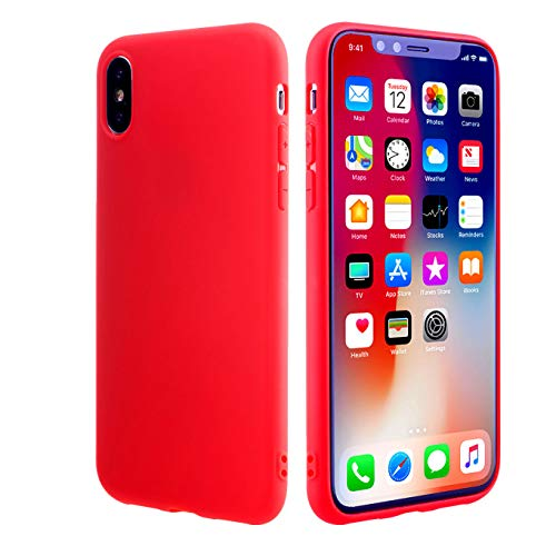 Slim Fit Case for iPhone Xs/iPhone X, Soft Flexible Cover Compatible for 5.8 inch(2017 & 2018 Release) Durable Light Shockproof Shell Soft TPU Silicone Gel Bumper Case (Red)