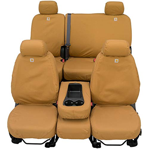 Covercraft Carhartt SeatSaver Front Row Custom Fit Seat Cover for Select Ford Models - Duck Weave (Brown) (Cover Seat Covercraft Jeep)