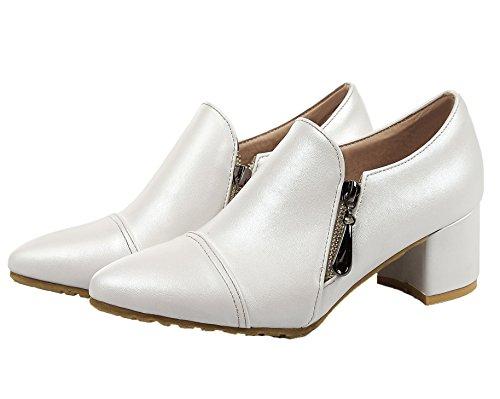 Hæler Pumper Tå sko Solid Voguezone009 on Kattunge Spiss Pull Pu Kvinners Hvit qwpIaT