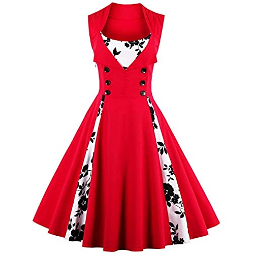 Women Vintage Cocktail Dresses For Formal Gala Ball PartyRedXL