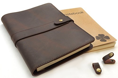 (Le Vent Refillable Leather Journal, with 2 Bound A5 Notebooks Lined and Blank 200 Pages, 8.6x6.2 Inch, Brown Vintage Diary Cover for Travelers, Writers and Business)